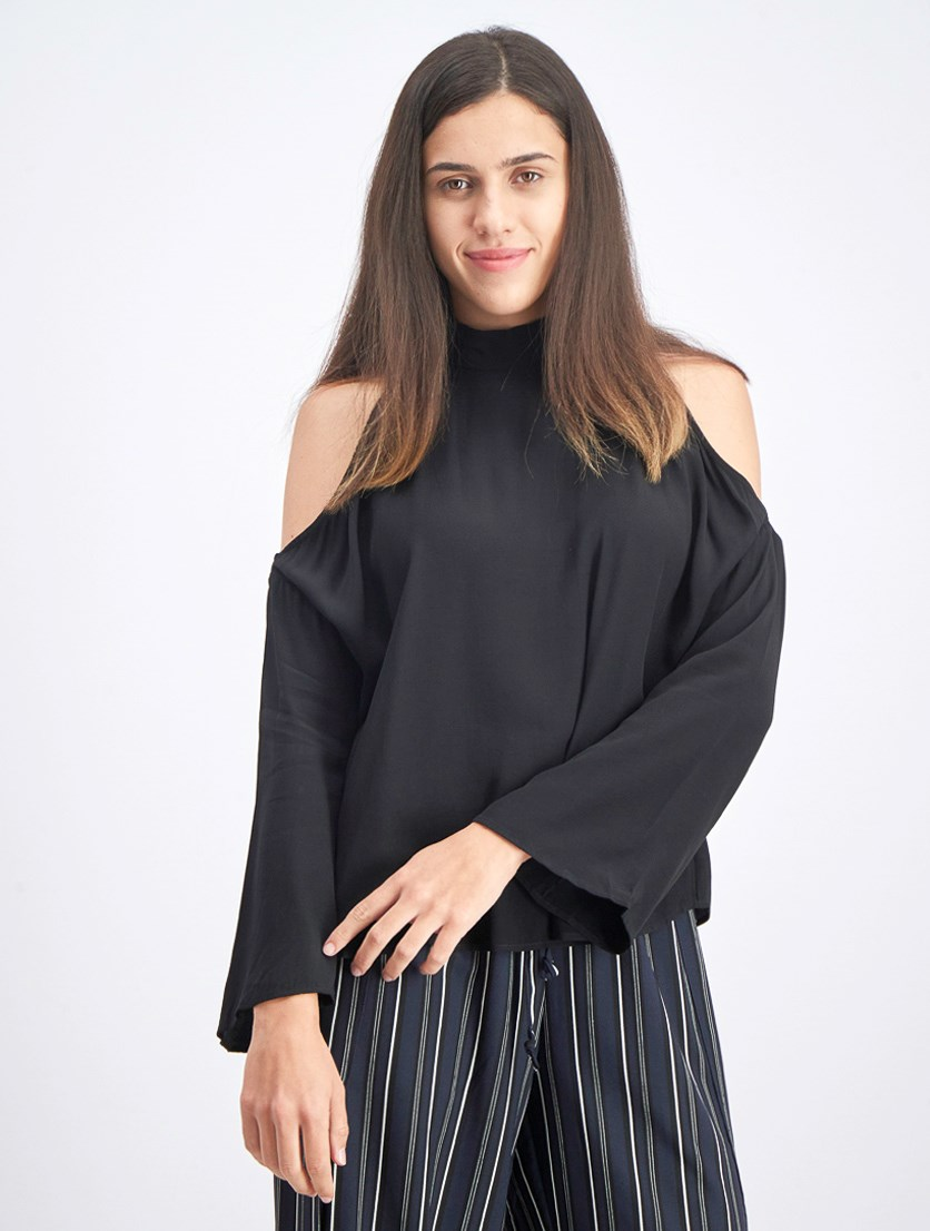 Cold-Shoulder Top, Black