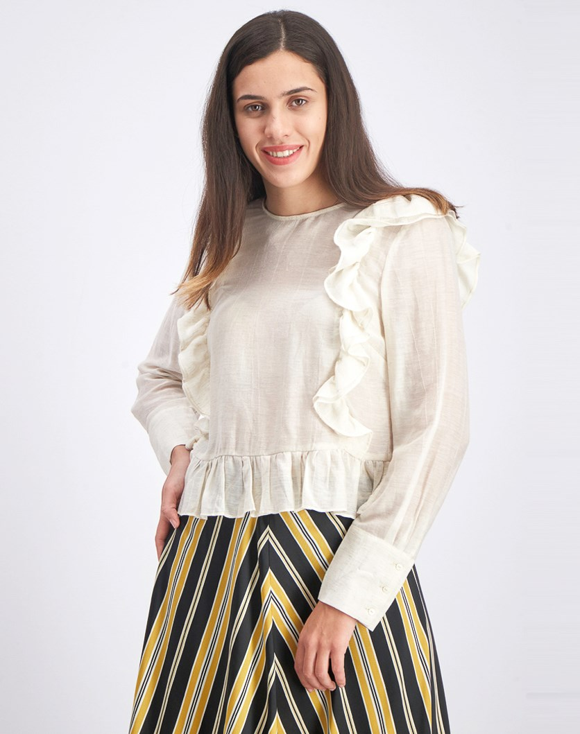Women's 3/4 Sleeves Ruffle Top, Cream