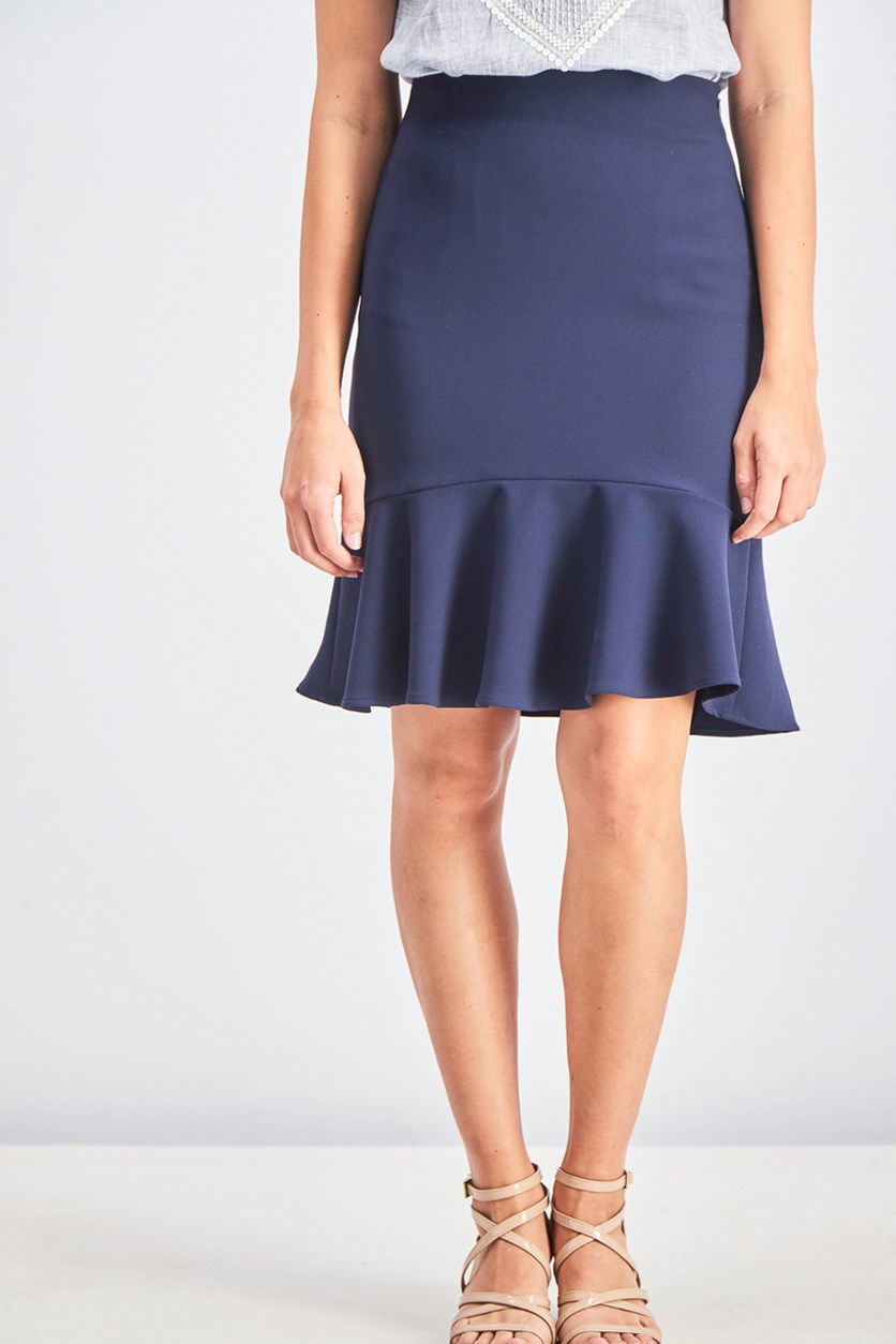 Women's Tulip Skirt with Flounce Hem, Navy