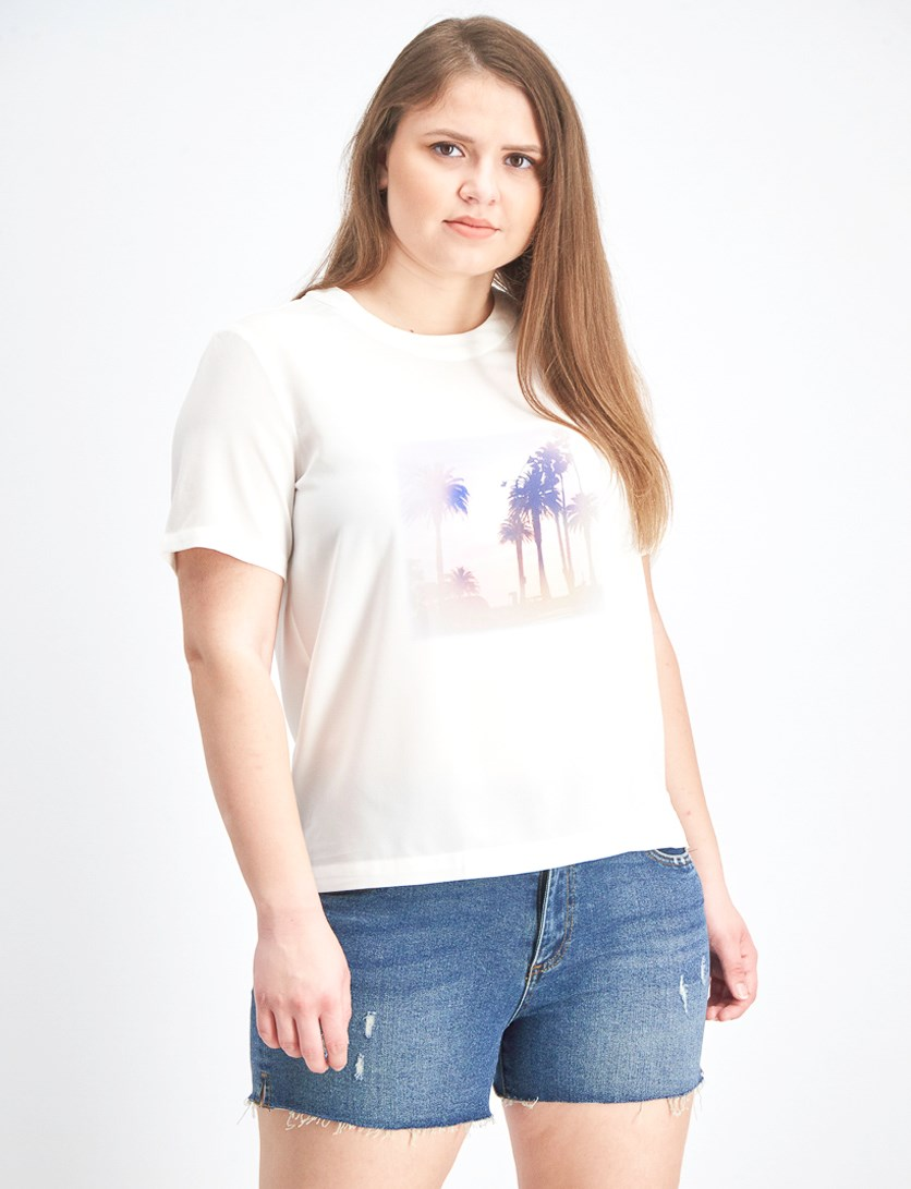 Women's Printed Flowy Top, Off White