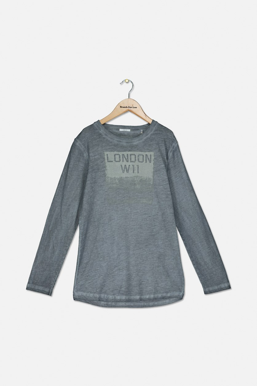 Boys Graphic Heather Sweater, Grey