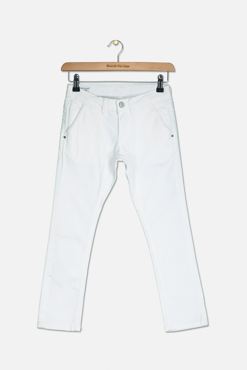 Girls Straight Cut Pants, White