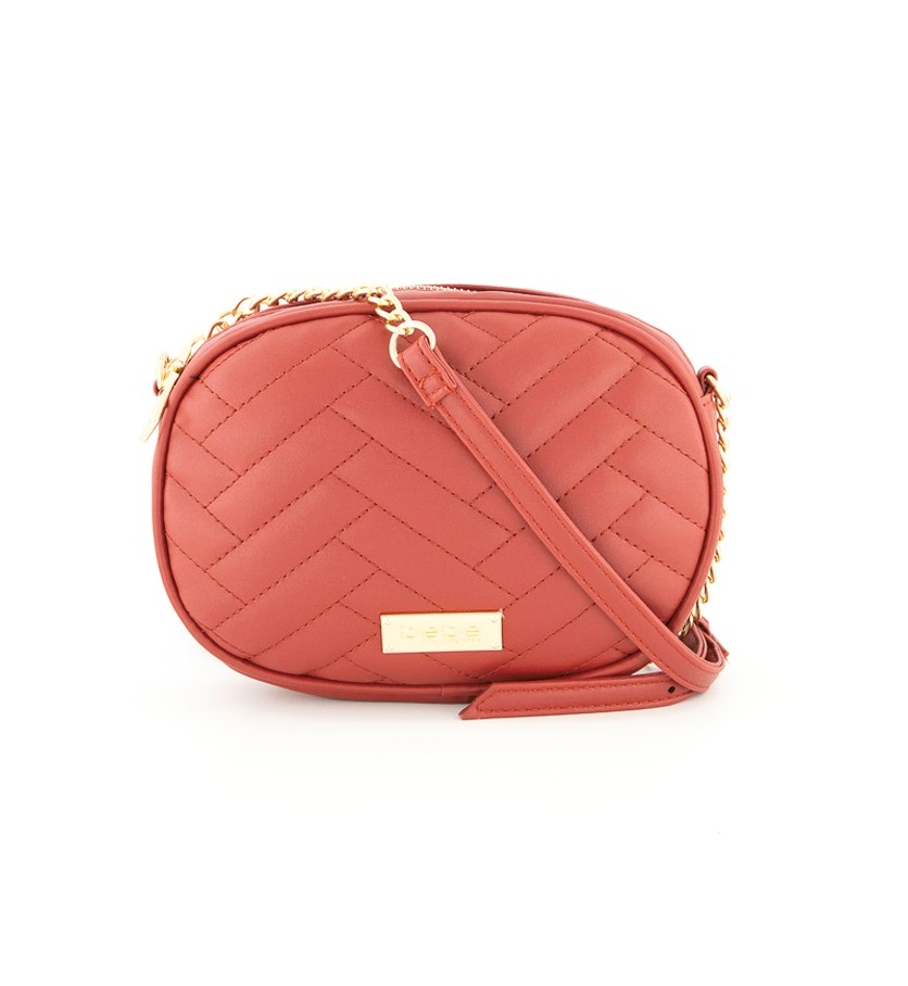 Women's Sophia Quilted Canteen Cross Body Bag, Red