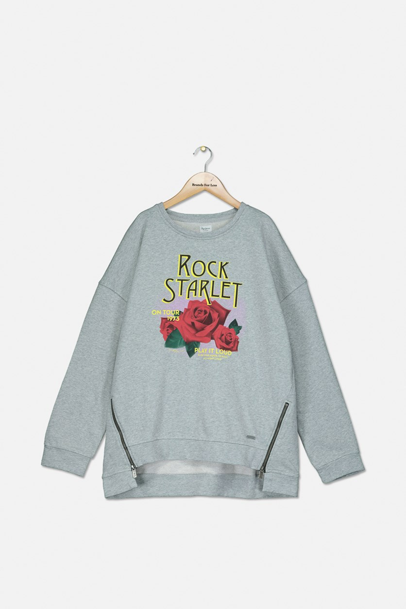 Kids Girls Rock Starlet Print Sweater, Heather Grey