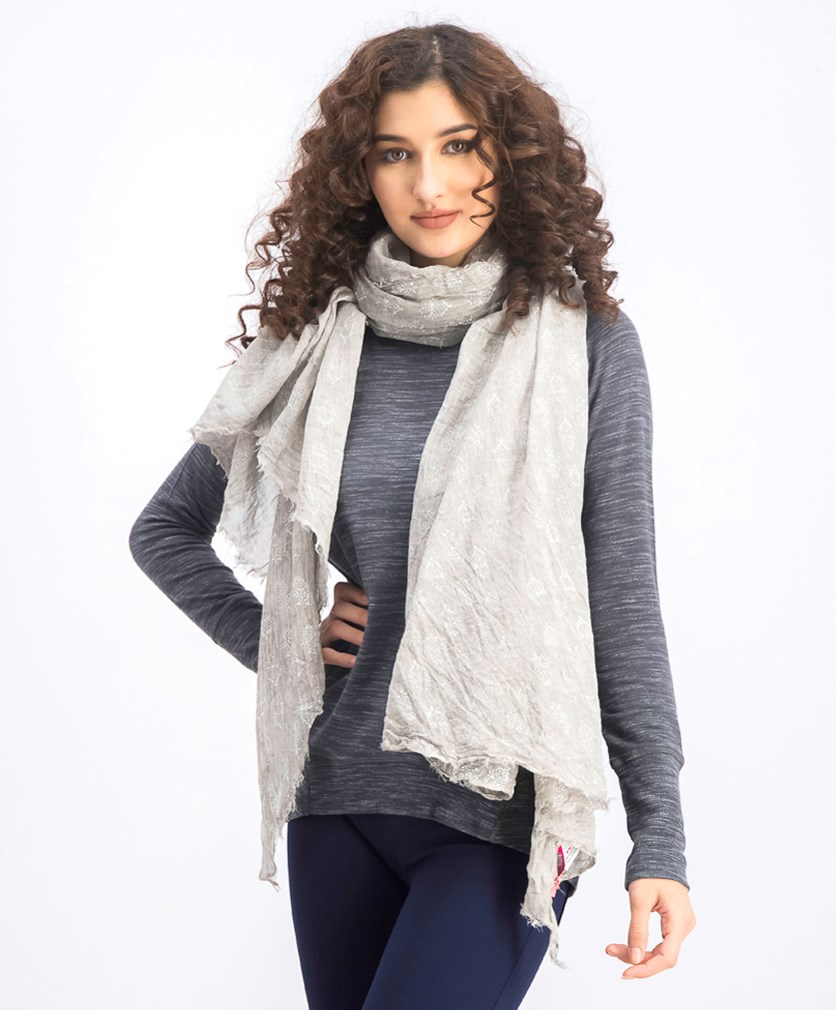 Women's Printed Scarf, Grey