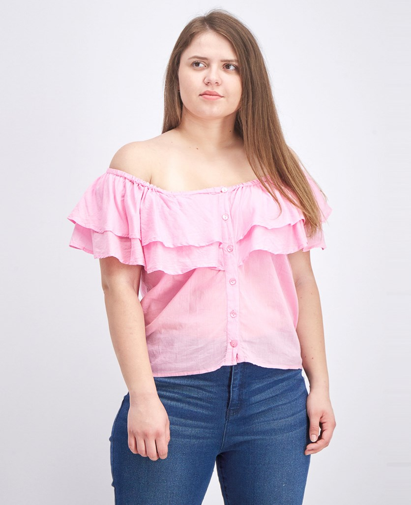 Women's Off-Shoulder Neckline Top, Pink