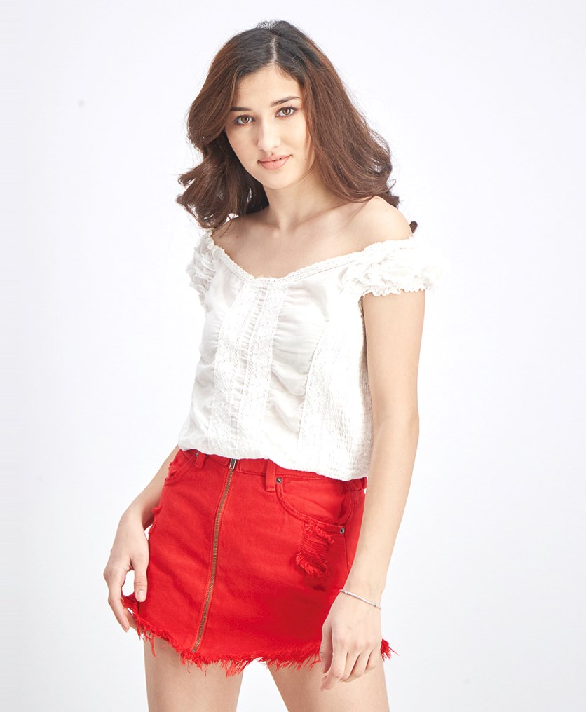 Women's Embroidered Off-Shoulder Blouse, Off White