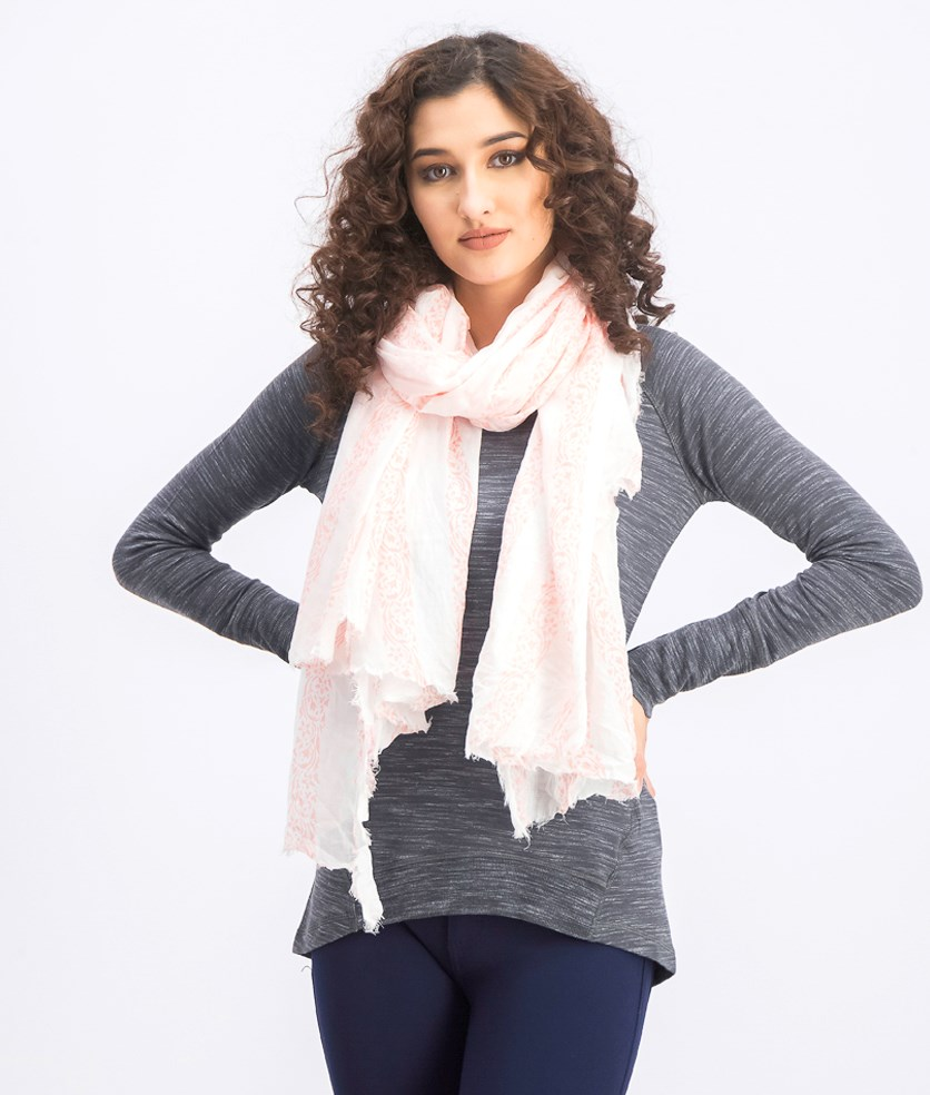 Women's Printed Scarf, Pink/White