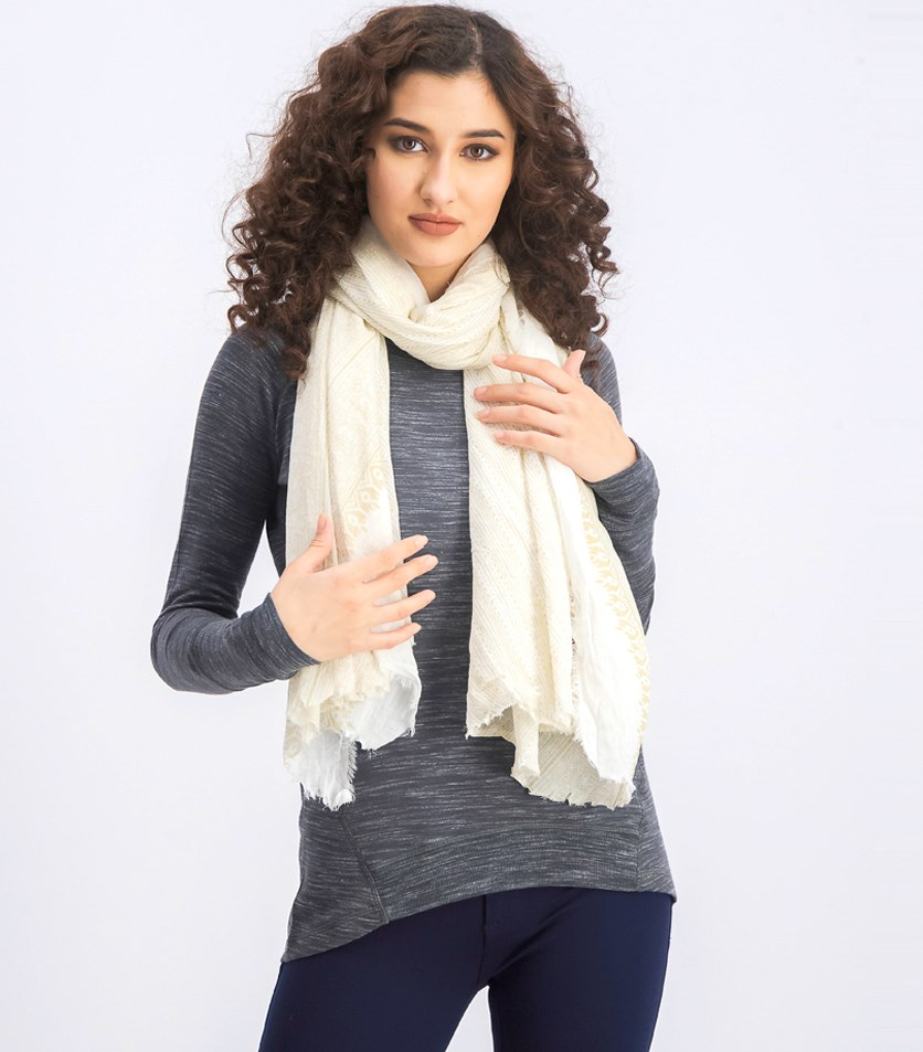 Women's Printed Scarfs, Olive/White