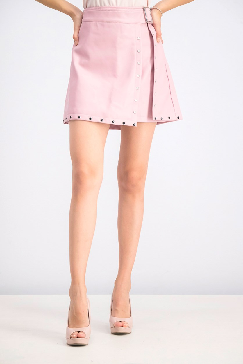Women's Wrap Studded Leather Skirt, Pink