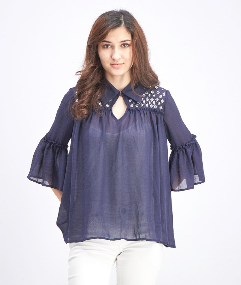 Women's Bell Sleeve Top, Navy