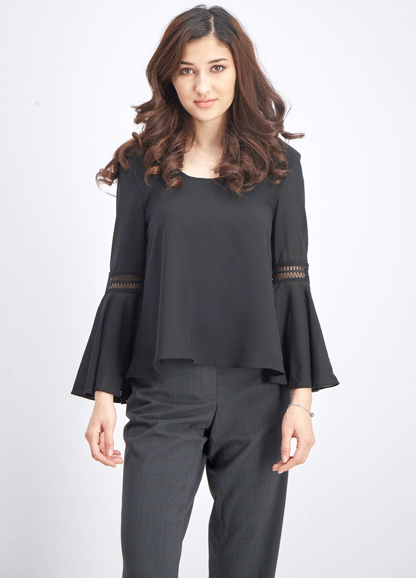 Women's Bell Sleeve Blouse, Black