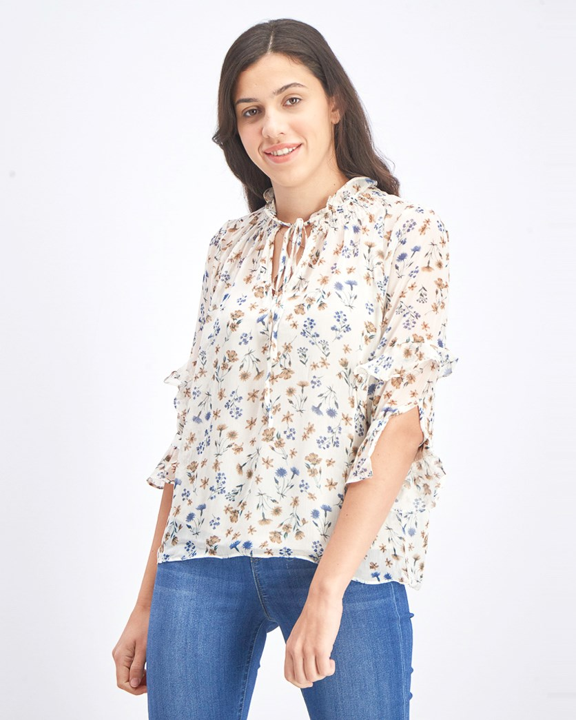 Women's Ruffle Sleeve Floral Top, Beige