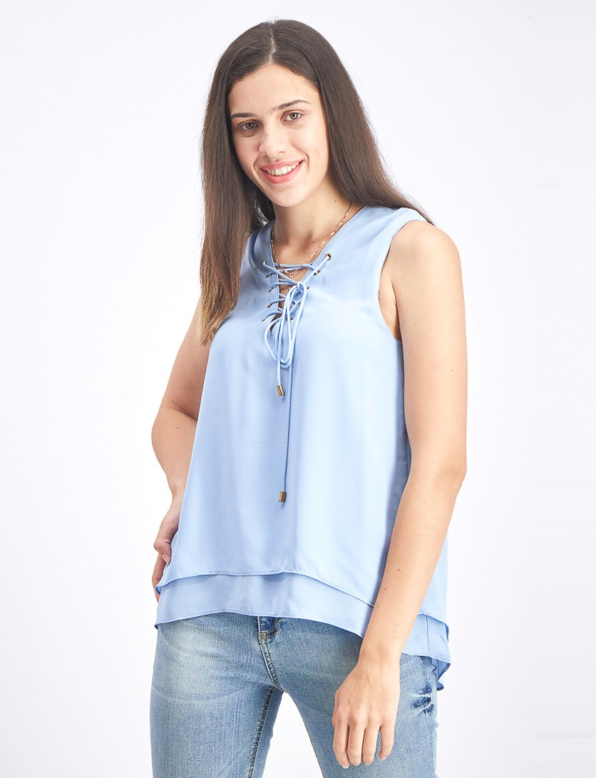 Women's Tie Neckline Top, Light Blue