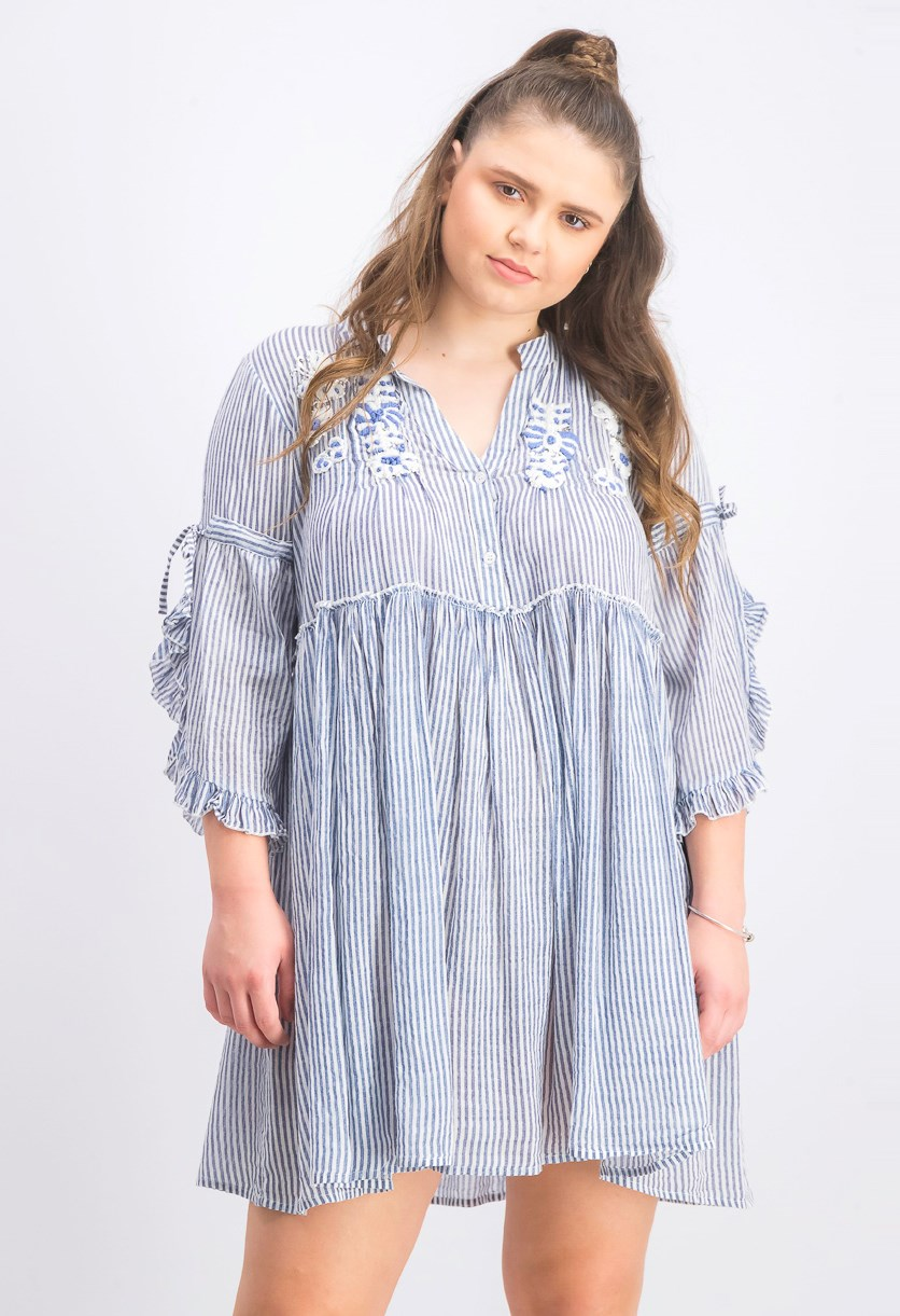 Women's Stripe Ruffle Sleeve Dress, Blue/White