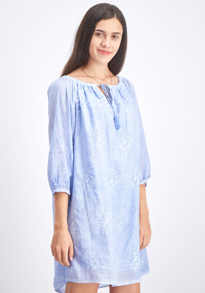 Women's Embroidered Shift Dress, Wash Blue