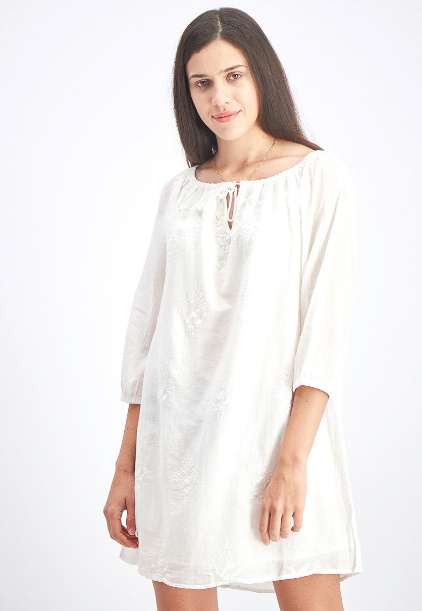 Women's Embroidered Shift Dress, Off White