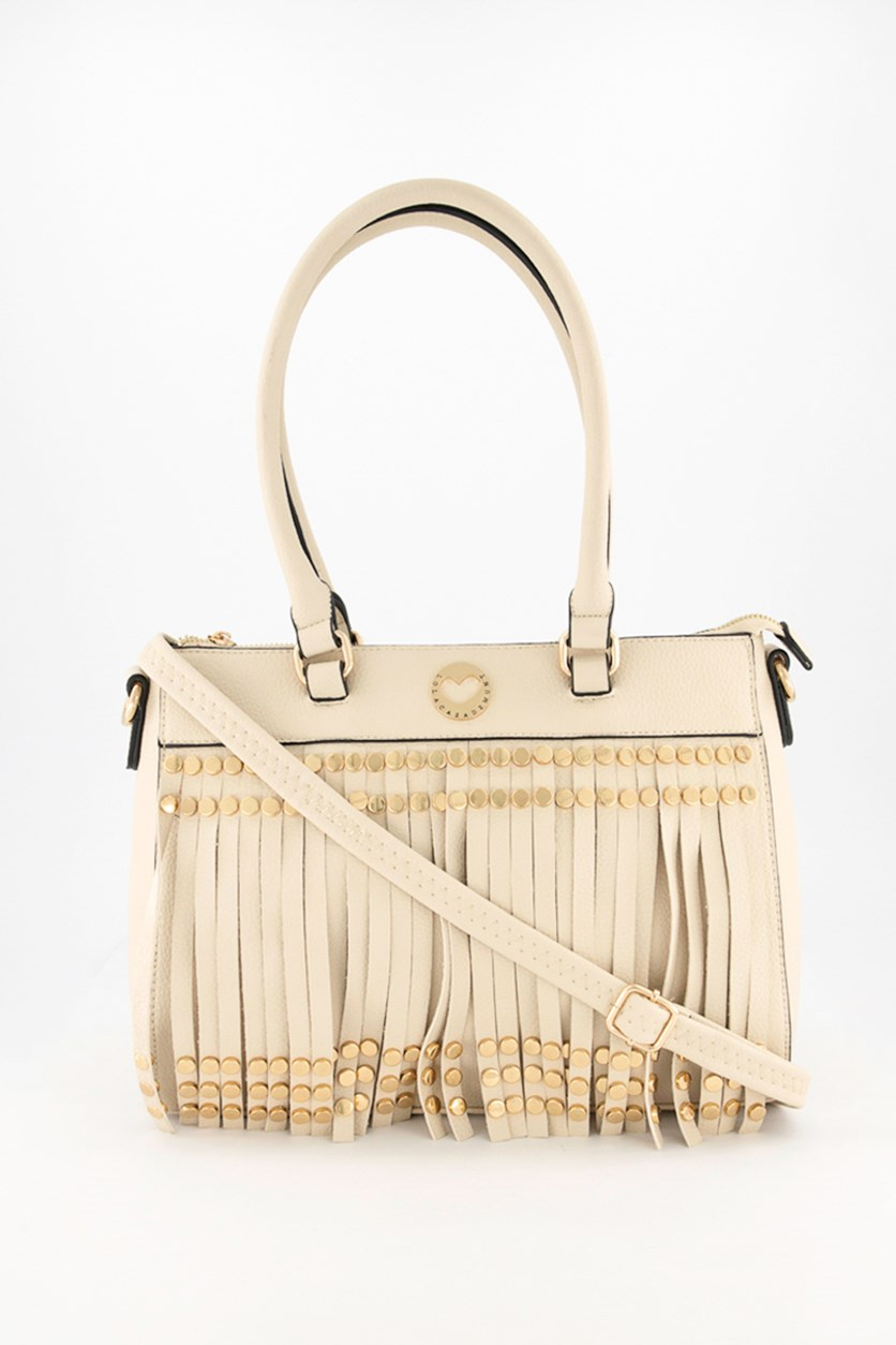 Women's Studded Fringe Crossbody Bag, Beige