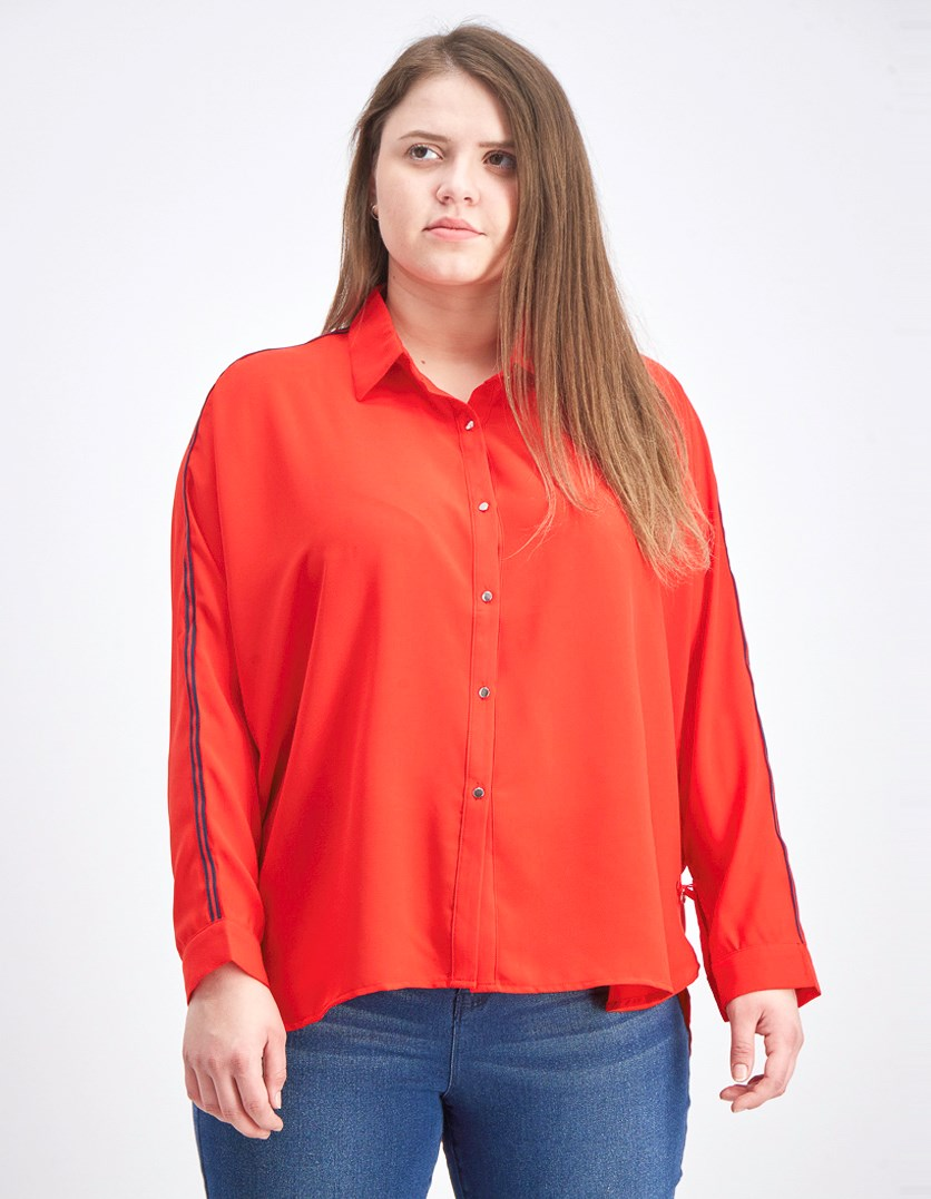 Women's Batwing Sleeve Blouse, Red