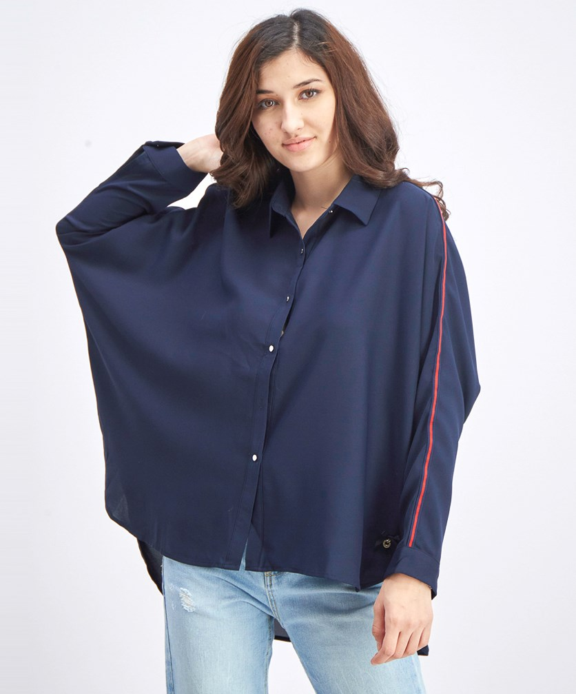Women's Batwing Sleeve Blouse, Navy