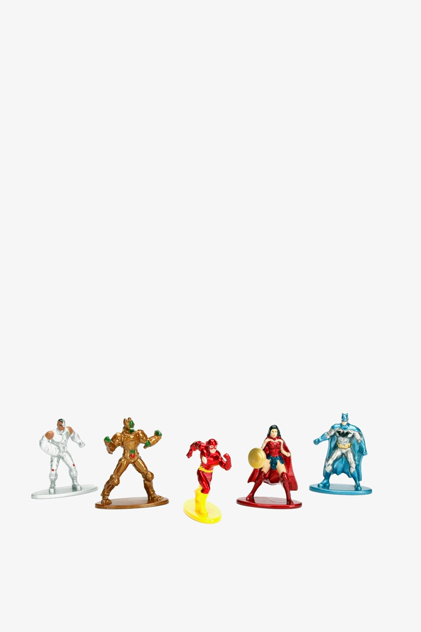5 Pack Mini Figure Set, Gray/Red Combo