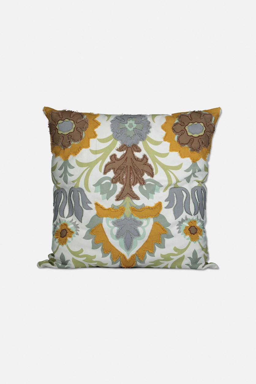 Floral  Embroidery Decorative Pillow 51 x 51 cm, Ivory/Gold/Green Combo