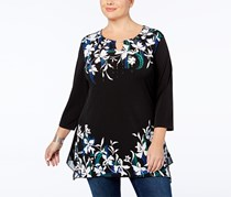 Jm Collection Plus Size Printed Tunic, Black