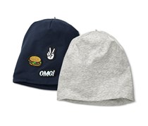 Boy's And Girl's 2 Kids Beanies, Navy/Grey