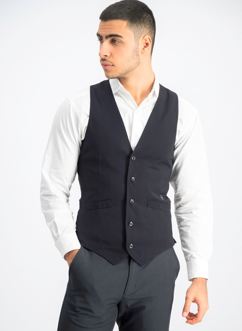 Men's Button Down Vest, Black
