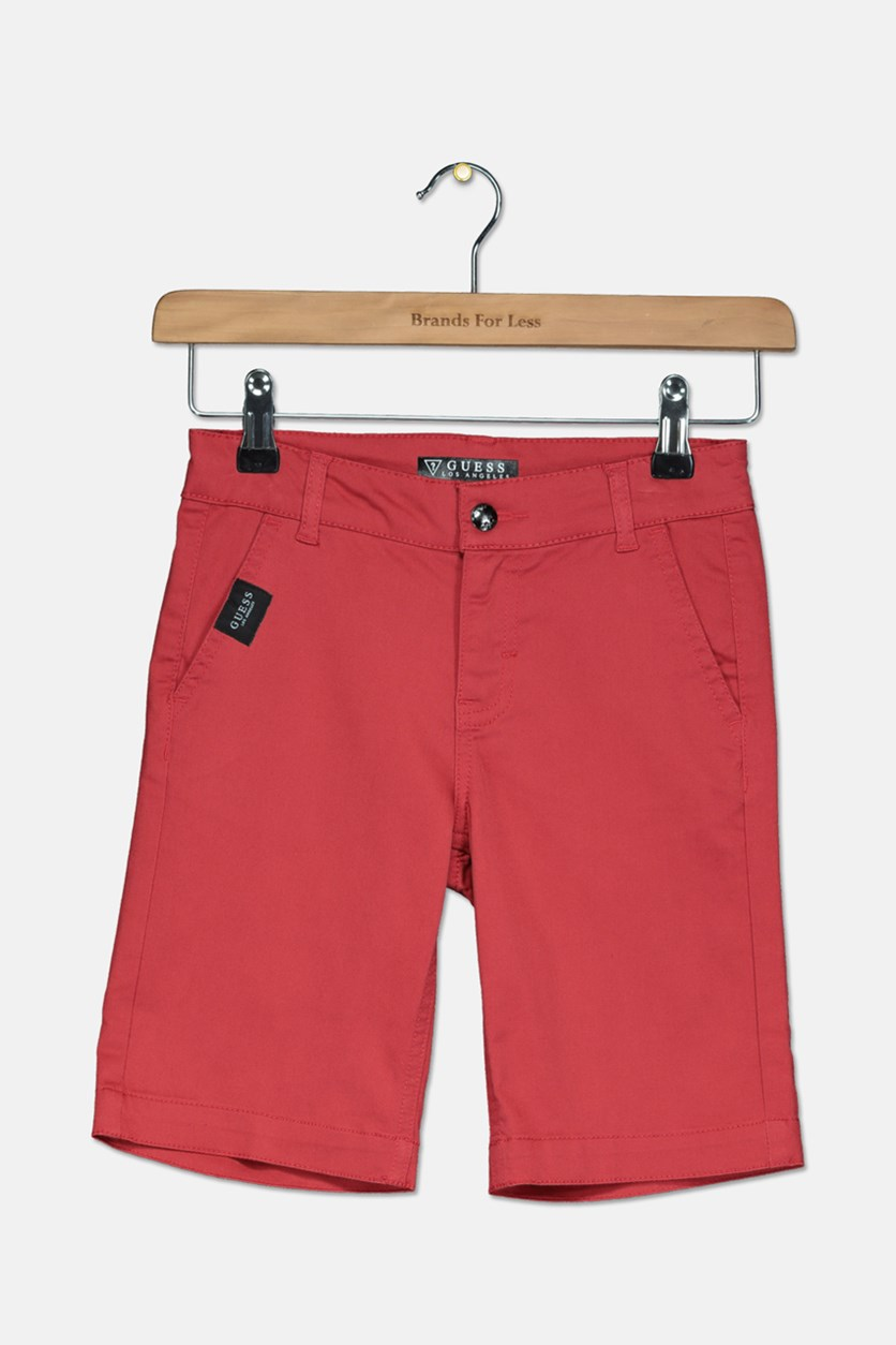 Kids Boys Flat Front Colored Twill Short, Red