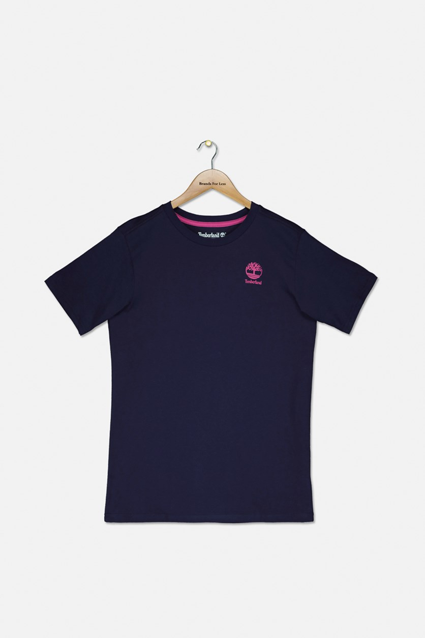 Boy's Short Sleeve Brand Logo T-Shirt, Navy