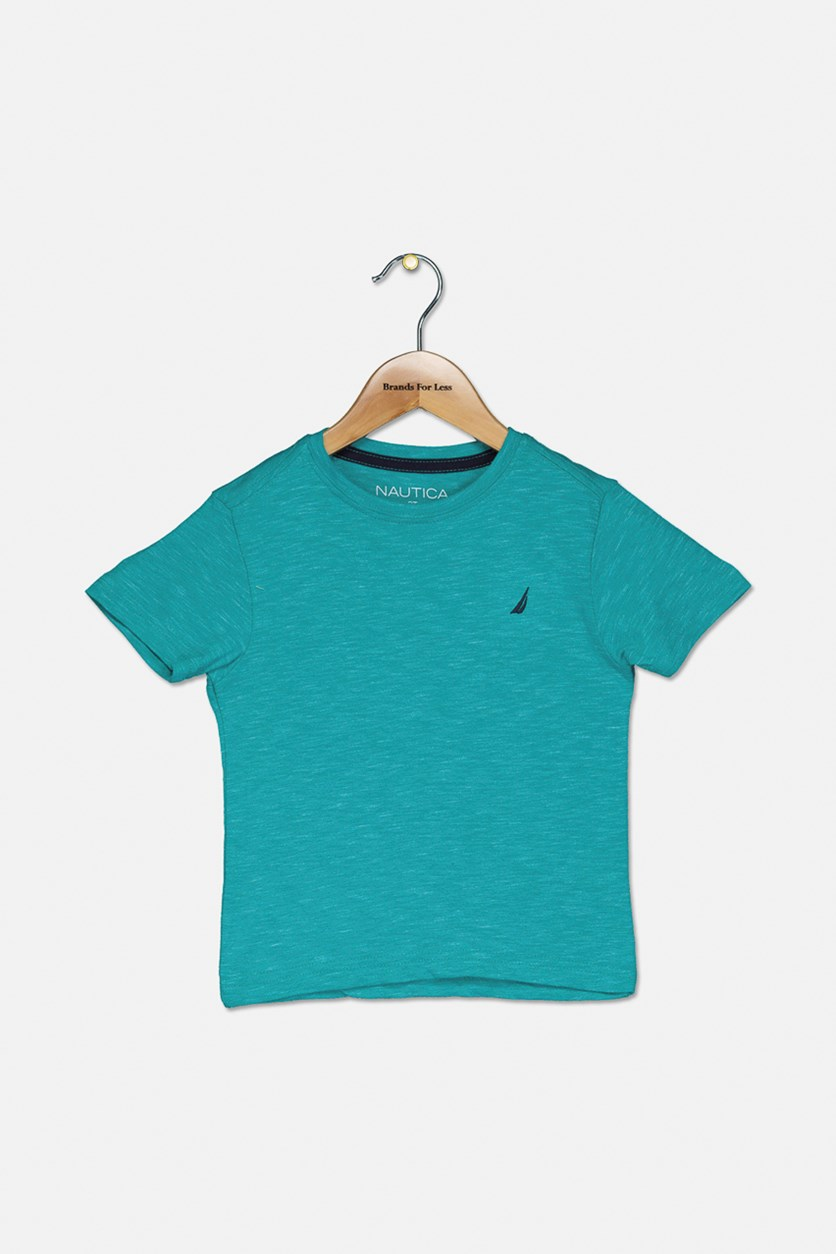 Toddler Boys Space Dye Crew Neck Shirt, Teal