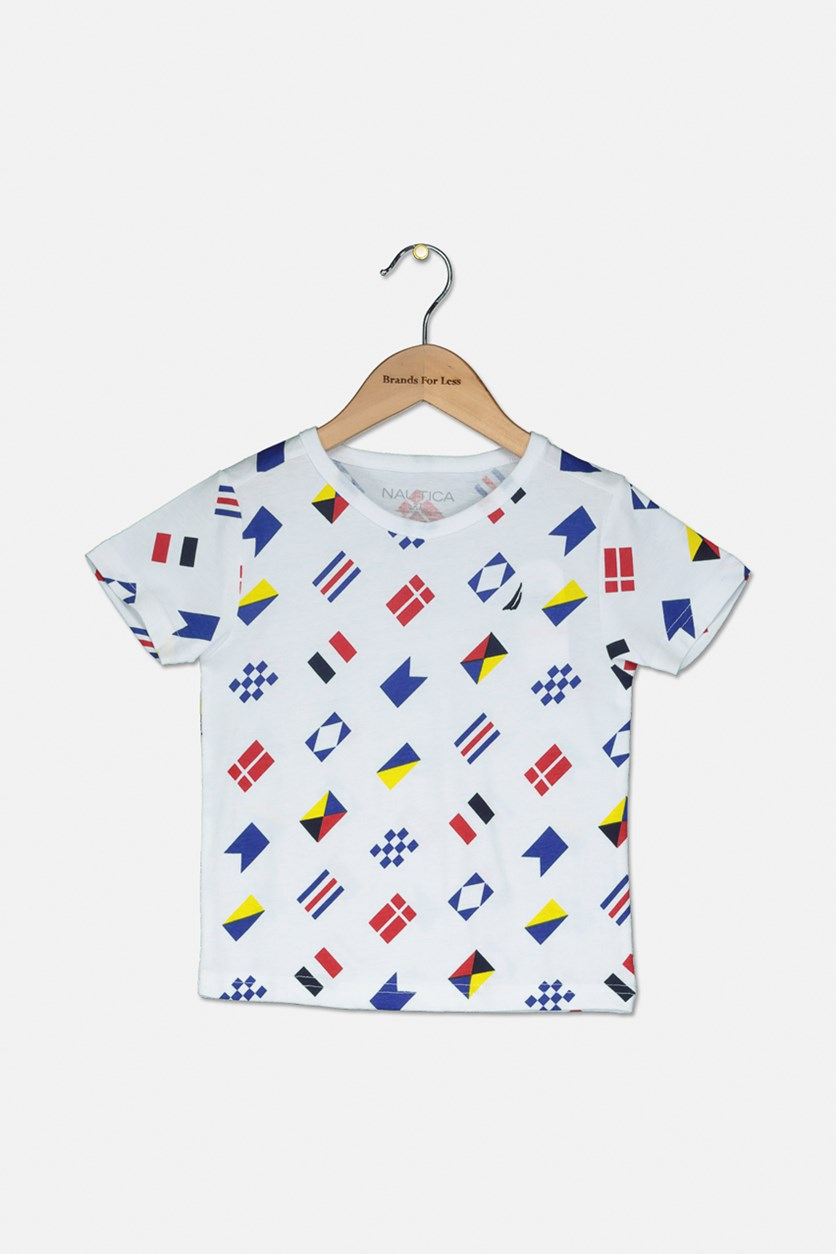 Toddlers Short Sleeve Printed Tee, White/Blue/Yellow/Red
