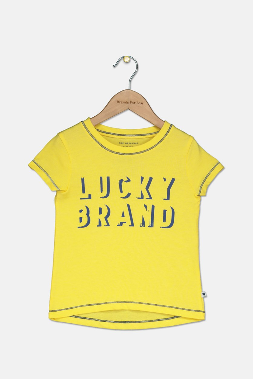 Little Girls Graphic T-Shirt high Low, Yellow