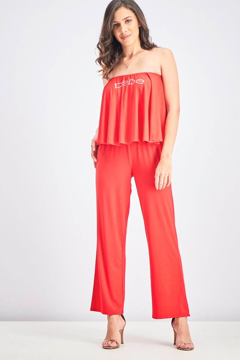 Logo Strapless Jumpsuit, True Red