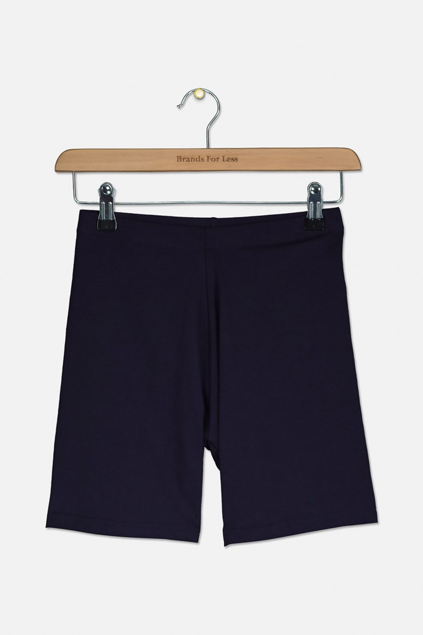 Girls Plain Bike Shorts, Navy Blue