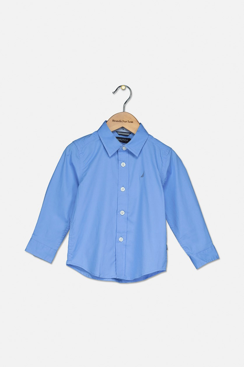 Toddlers Long Sleeve Shirt, Corn Blue