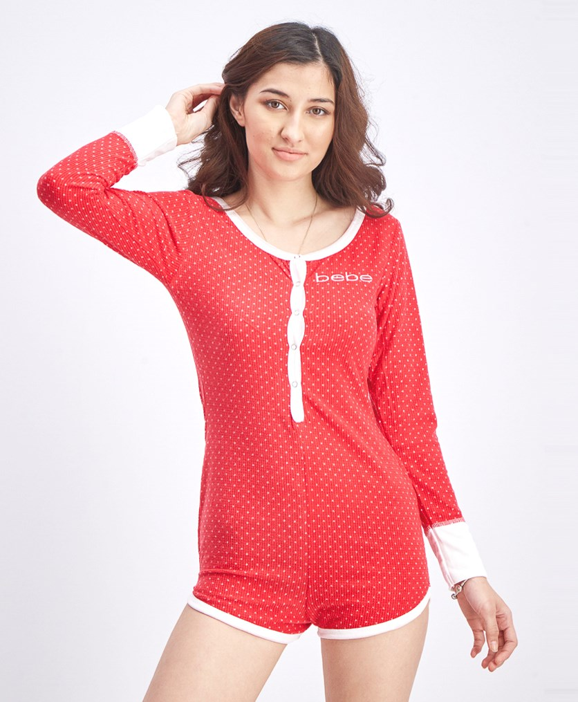 Women's Waffel Dot Romper, Red/White