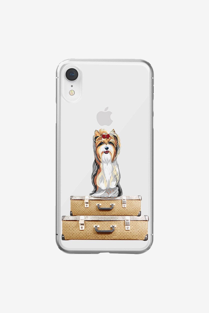 iPhone Xs Max Puppy Suitcase Soft Case, Clear