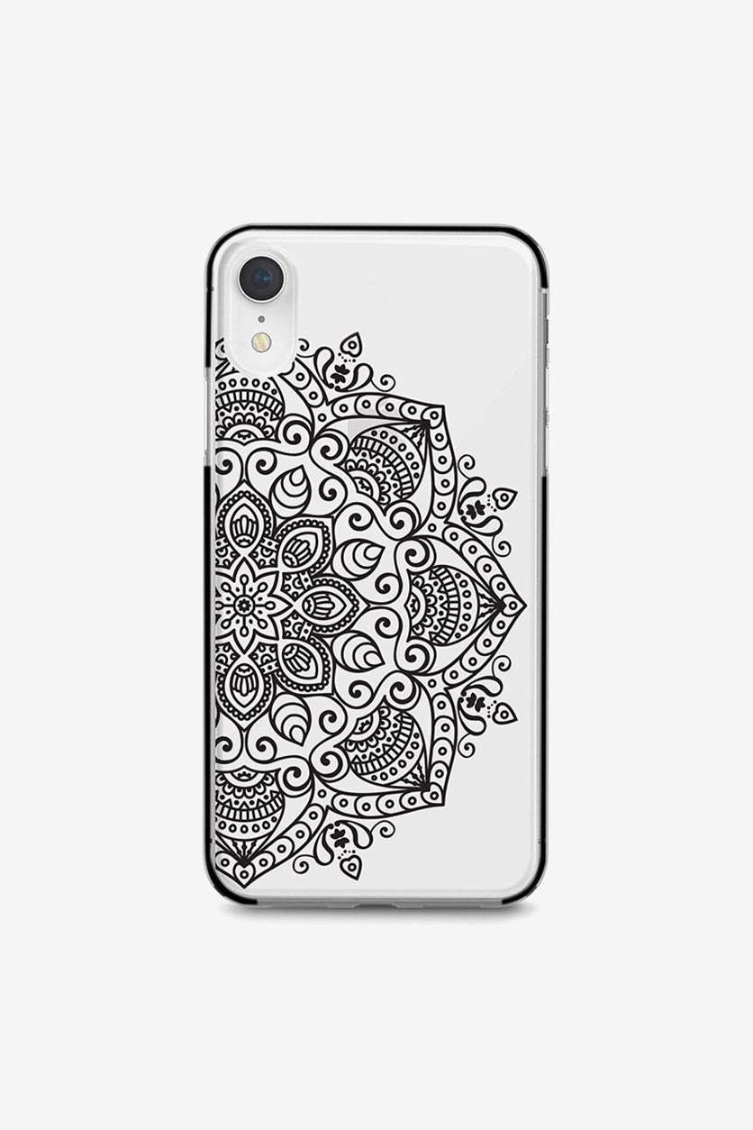 iPhone Xs Max Black Mandala Bumper Case, Clear