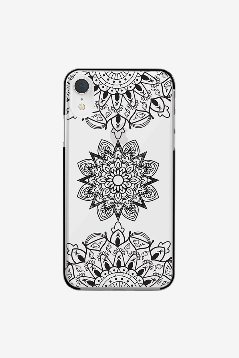 iPhone XR Tribal Mandala Case, Clear/Black
