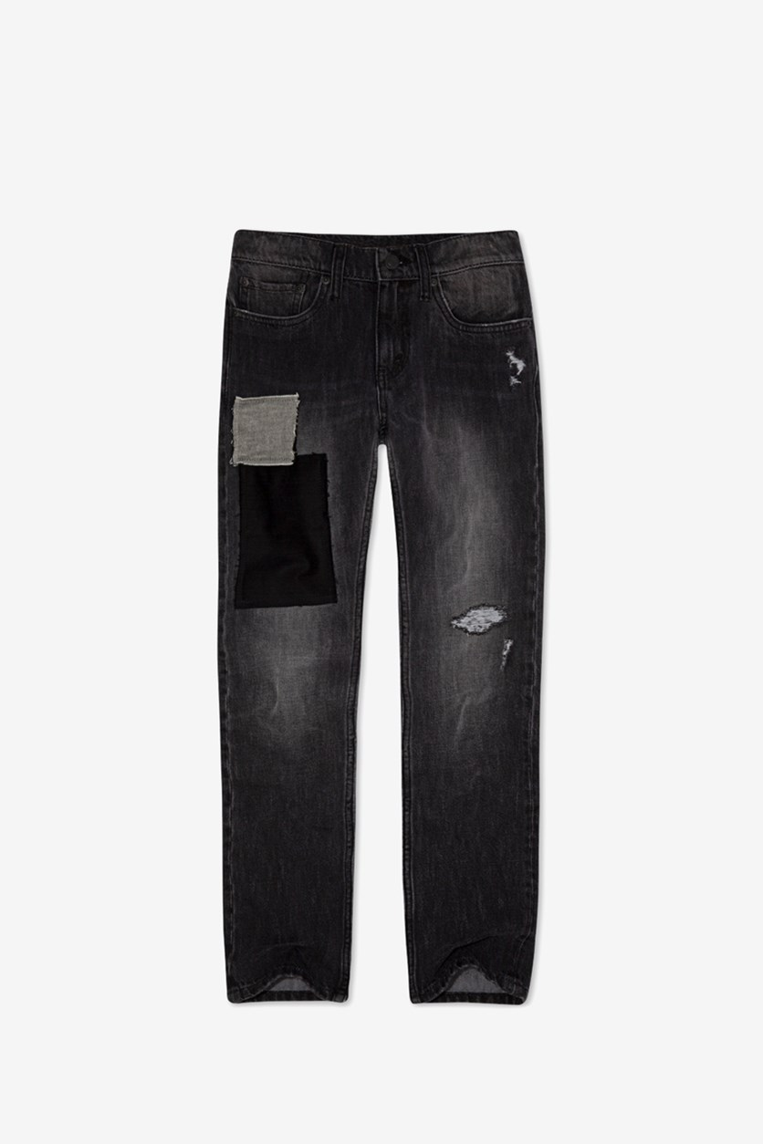 Kids Boys 511 Slim-Fit Warp Stretch Patches Jeans, Washed Black
