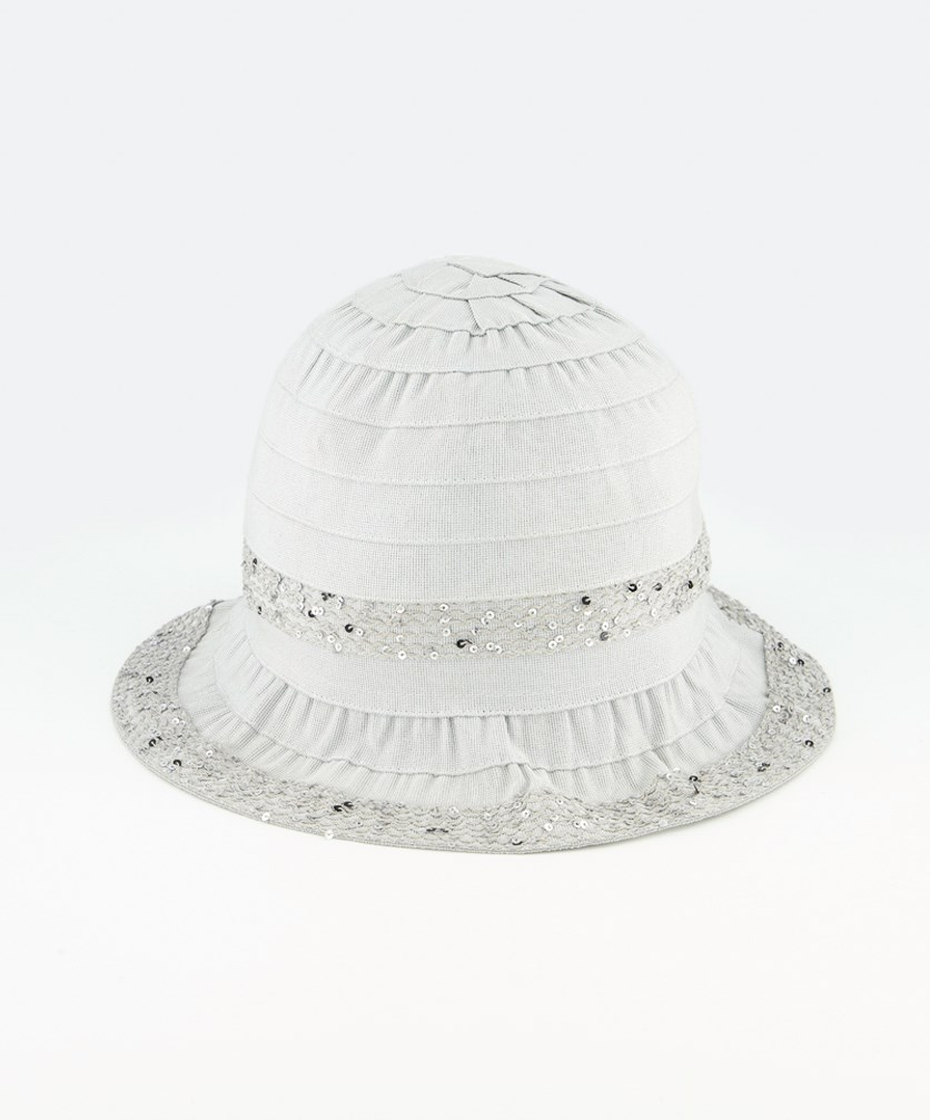 Women's Sequins Cloche Hat, Grey