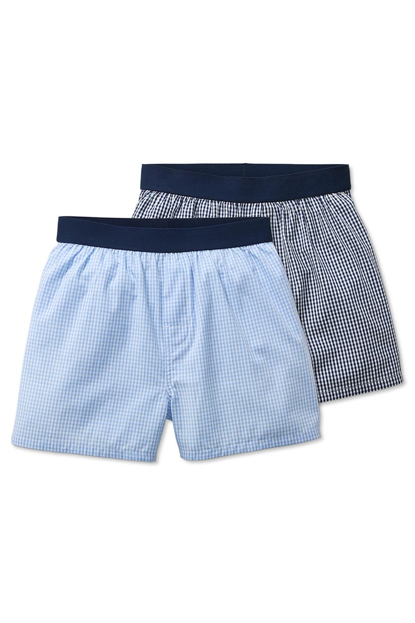 Boy's 2 Pairs Of Woven Boxer Shorts, Navy/Blue