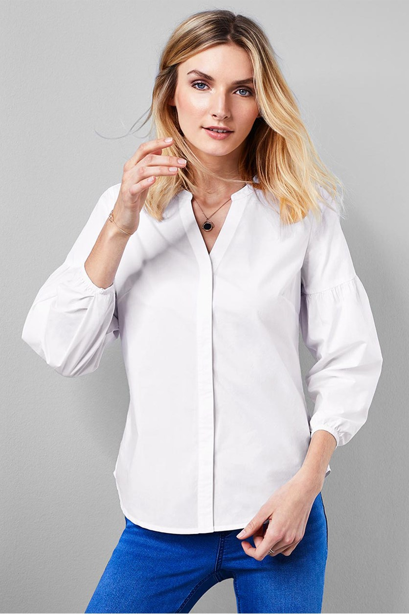 Women's Long Sleeve Blouse, White