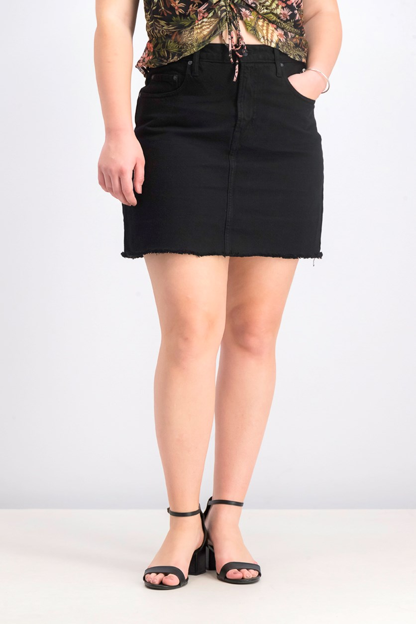 Women's High-Rise Frayed Hem Denim Skirt, Black