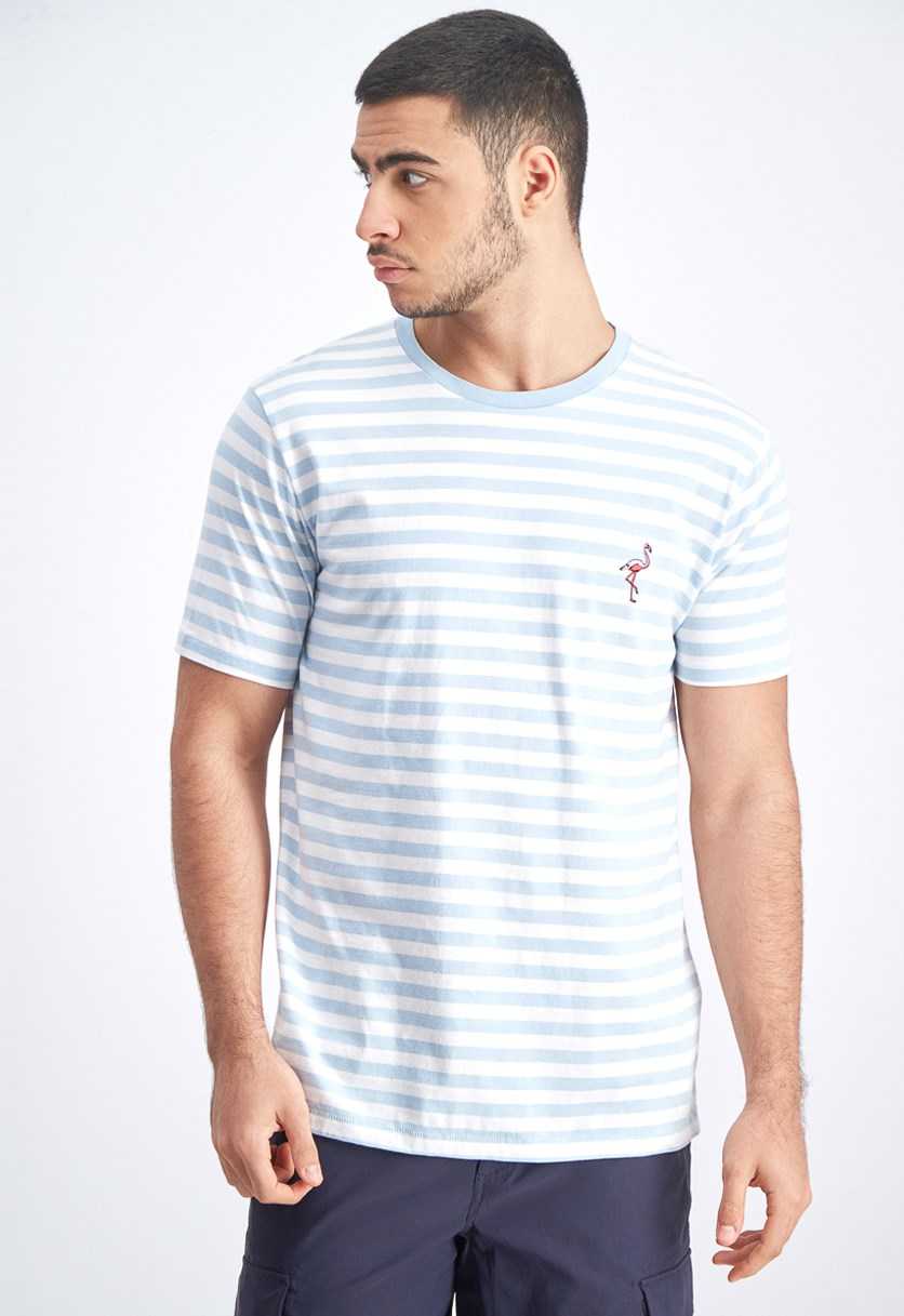 Men's Striped Flamingo Tee, Blue/White