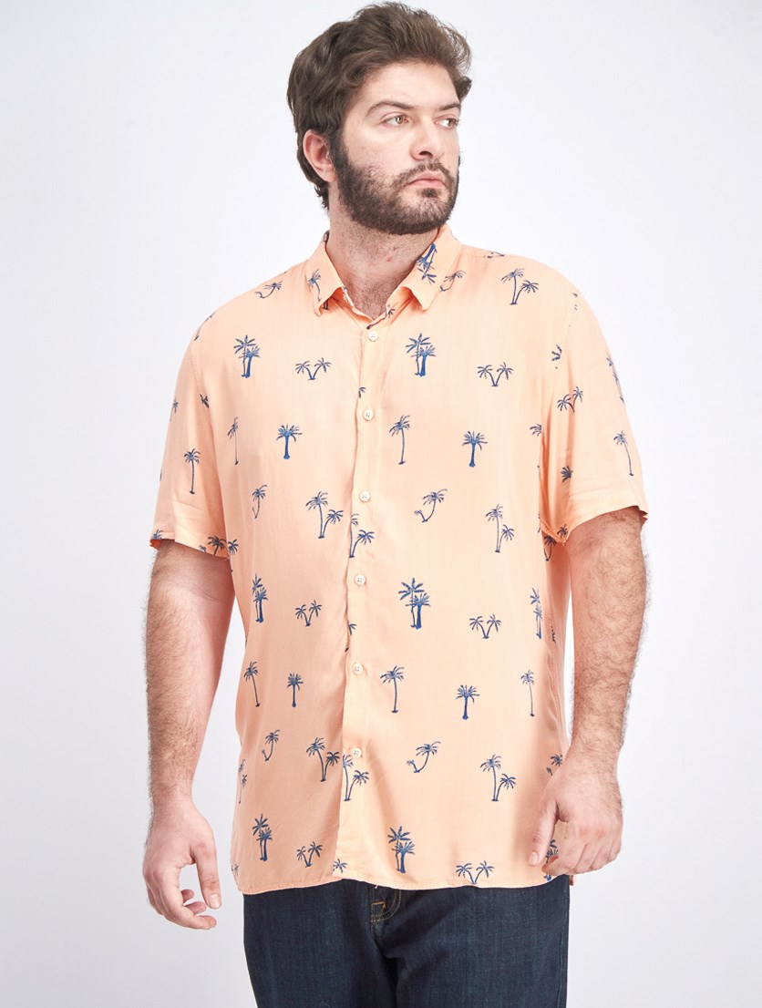 Men's Palm Tree Regular Fit  Button-Down Shirt, Peach Tropical