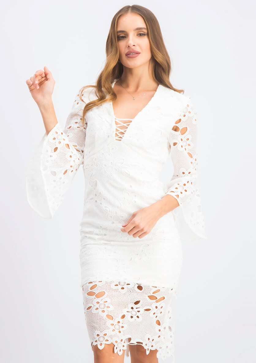 Lace Bell Sleeves Sheath Formal Dress, White