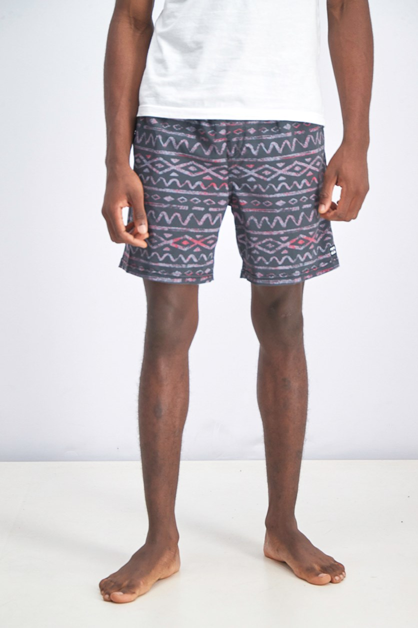 Men's Drawstring Board  Short, Gray/Pink Combo